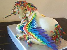 Rainbow unicorn cake for a wedding