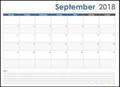 38 Best September 2018 Calendar Template Images Blank Calendar