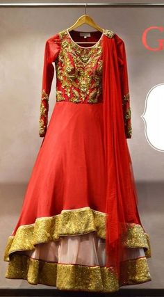 RED WITH GOLD ANARKALI