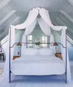 iron bed / Canopy upstairs master suite/loft (for the attic)