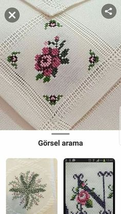~ Lovely floral/roses cross stitch embroidered tablecloth in white linen from Sweden Cross Stitch Sea, Beaded Cross Stitch, Cross Stitch Borders, Cross Stitch Alphabet, Cross Stitch Patterns, Embroidery Tattoo, Hand Embroidery, Crochet Bedspread, Embroidery Patterns