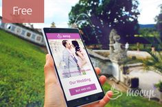 """Free photorealistic PSD Mockup of Nokia Lumia 1520 during the wedding in summer garden.All our """"Mocups"""" are easy to use because of using sma..."""