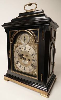 Rafael Osona Auctions Nantucket MA - Devereux Bowly, London Bracket Clock, Century, chiming and repeating clock in an ebonized case with brass mounts Mantel Clocks, Old Clocks, Antique Clocks, Nantucket, Victorian Clocks, Small Clock, Retro Clock, 3d Printed Jewelry, Old Watches