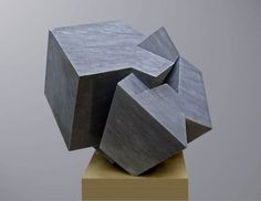 Bardiglio marble Abstract Contemporary or Modern Outdoor Outside Exterior Garden / Yard Sculptures Statues statuary sculpture by artist Neil Ferber titled: 'ZIG ZAG (Contemporary abstract Carved marble Grey Angular statue)'