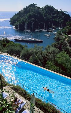 Pool with a view at the Hotel Splendido in  Portofino (Liguria), Italy