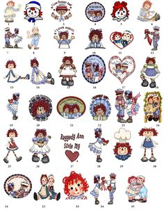 Various Raggedy Ann designs