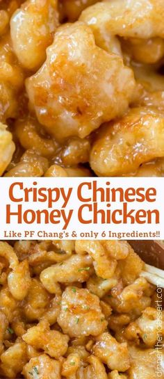 Chinese Honey Chicken is a crispy, delicious and EASY recipe your family will lo. Chinese Honey Chicken is a crispy, delicious and EASY recipe your family will love and it has just six ingredients! Tastes just like P. Chicken Thights Recipes, Chicken Parmesan Recipes, Healthy Chicken Recipes, Cooking Recipes, Easy Chinese Food Recipes, Recipe Chicken, Chinese Desserts, Chinese Meals, Chang's Chinese