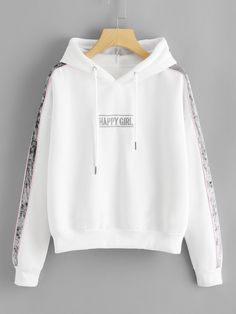 Shop Contrast Panel Sleeve Letter Embroidered Hoodie at ROMWE, discover more fashion styles online. Girls Fashion Clothes, Teen Fashion Outfits, Outfits For Teens, Cute Lazy Outfits, Trendy Outfits, Cool Outfits, Stylish Hoodies, Frock Fashion, Hoodie Outfit
