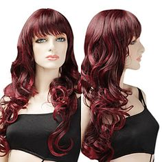 Mix Wine Red Large Wavy Curls 70cm Long Gothic Lolita Wig – AUD $ 47.50