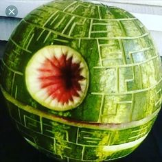 "My favourite search result when I google ""Star Wars food""Geek and sad I know. #melon #watermelon #deathstar #starwarsfood"