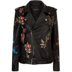 Etro Floral Painted Leather Jacket (89.150 CZK) ❤ liked on Polyvore featuring outerwear, jackets, etro, tops, blue jackets, floral-print bomber jackets, flower leather jacket, embroidered leather jacket and genuine leather jackets