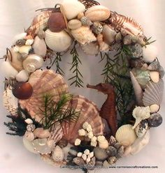 Seahorse and Shell Wreath.