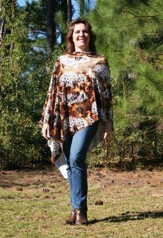 Animal Print Asymmetrical Poncho - One of A Kind Velvet Stretch Lycra | DonnasDesignsSC - Clothing on ArtFire