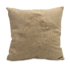 """Rouge Accent Pillow - Natural Fiber, Leaf Stitched Accent Pillow. Material: 70% Polyfill, 30% Polyester. 18""""h x 18""""w."""