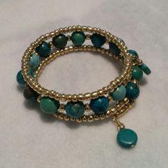 Turquoise stacked wrap bangle bracelet by JewelrybyJennette, $20.00