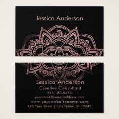 Rose Gold Foil Mandala Over Black Business Card - black gifts unique cool diy customize personalize