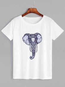 White Elephant Print Short Sleeve T-shirt