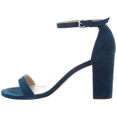 Pre-owned Stuart Weitzman Suede Ankle Strap Sandals (€54) ❤ liked on Polyvore featuring shoes, sandals, blue, blue shoes, ankle tie shoes, blue ankle strap shoes, ankle tie sandals and ankle strap sandals