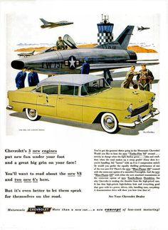 1955 Chevrolet Bel Air Four Door Sedan ... With an Air Force F-100 Super Sabre