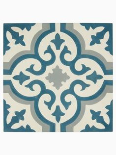 Old Havana Cabanas Handmade Glazed Wall and Floor Tile with White, Aqua and Blue Hand Decorated Pattern. Available to buy online from Claybrook. Ceramic Floor Tiles, Bathroom Floor Tiles, Wall And Floor Tiles, Wall Tile, Cement Tiles, Kitchen Tiles, Cement Floors, Wet Room Flooring, Modern Flooring