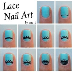 """Here's a tutorial for the lace nails Description below ⬇️ 1⃣ Apply a basecoat and paint your nails a solid color 2⃣ Make a slightly curved line near…"""