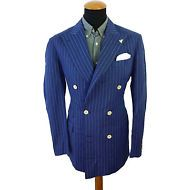 Mens Pal Zileri Sartoriale Blazer size 39R Double Breasted Blue Handmade Striped