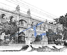 Newton Hall, Lahore  Pen and ink with 0.1mm rapido  By: Zehra Naqavi (Achitect/artist)  Year: 1997