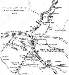 Königsberg Pr.  Lage der Bahnhöfe      ca. 1942