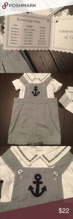 Adorable nautical romper Adorable baby romper. Two pieces. Brand new size 3-6 One Pieces Bodysuits