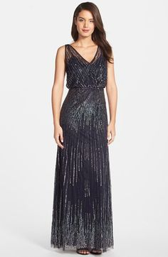 Adrianna+Papell+Beaded+Surplice+Gown+available+at+#Nordstrom
