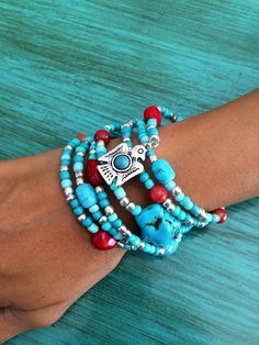 Hey, I found this really awesome Etsy listing at https://www.etsy.com/listing/278113380/thunderbird-bead-bracelet-turquoise-red
