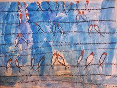 Παρέα με τους ζωγράφους: Χελιδόνια. Μίνα Παπαθεοδώρου-Βαλυράκη Painting, Painting Art, Paintings, Painted Canvas, Drawings