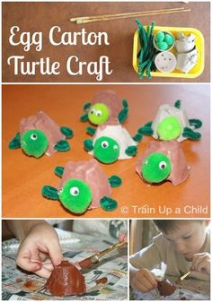 Egg Carton Turtle Craft - An adorable craft for kids made from a recycled egg carton. Yay , some ideas to use our pompoms on! #adorable #pompoms #egg Craft Activities For Kids, Preschool Crafts, Projects For Kids, Crafts To Do, Crafts For Kids, Turtle Crafts, Egg Carton Crafts, Thinking Day, Crafty Kids
