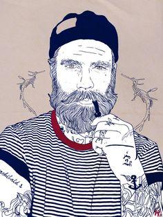 Juxtapoz Magazine - Works by Graphik(H) - Illustrations by Graphik H - Art And Illustration, Hipster Illustration, Alaaf You, Hipster Vintage, Beard Art, Man Beard, Street Art, Illustrator, Psy Art