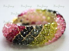 Yes, I got many requests asking how to make this bracelet. It seems that the pattern is only available in my country. I don't know who is the original designer of this bracelet. But I got the pattern from Thai Crystal Magazine (December 2008) so all the credit will go to them. Tutorial : Crystal…
