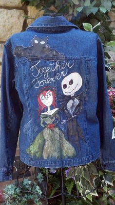 Jack and Sally hand painted denim wedding Jacket by LooksFromBooks, $60.00