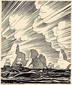 "Woodcut illustration for ""Moby Dick: volume III"" by American artist & printmaker Rockwell Kent via linea curve Rockwell Kent, Ex Libris, Moby Dick, Scratchboard, Wood Engraving, Woodblock Print, American Artists, Printmaking, Illustration Art"