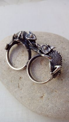 Double ring Chameleon ring Sterling Silver Free Shipping Double Ring, Cute Jewelry, Jewlery, Animal Jewelry, Women's Accessories, Sterling Silver Rings, Finger, Bling, Free Shipping