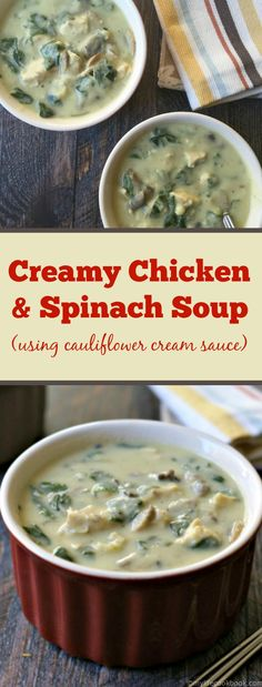 Try this delicious Paleo Creamy Chicken & Spinach soup. It uses cauliflower cream sauce so it's dairy free and low carb too! Try this delicious Paleo Creamy Chicken & Spinach soup. It uses cauliflower cream sauce so it's dairy free and low carb too! Paleo Recipes, Soup Recipes, Cooking Recipes, Free Recipes, Recipies, Turkey Recipes, Spinach Soup, Spinach Stuffed Chicken, Paleo Soup