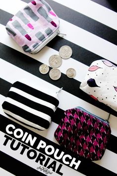 Sewing tutorial: Little zip coin pouch (Sewing Easy Sewing Projects, Sewing Projects For Beginners, Sewing Hacks, Sewing Tutorials, Sewing Tips, Tutorial Sewing, Bag Tutorials, Sewing Patterns Free, Free Sewing