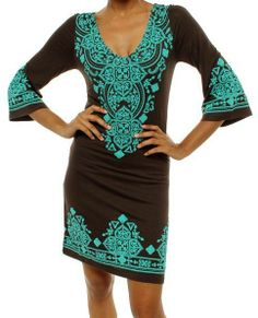 Boho Brown/Turquoise Trimmed Tunic Dress S M L  #Cezanne #Tunic #Casual