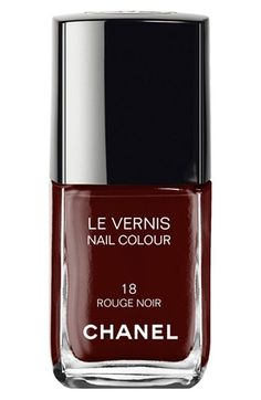 "Chanel Le Vernis Nail Color in Black Satin – dark hues were a huge hit on the runway this fall. ""Think emerald greens, and oxbloods"" says @ELLE Magazine (US). #Nordstrom"