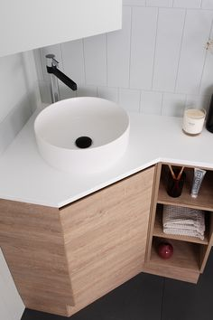 See our complete collection of Above-Counter basins. Our range includes Solid Surface, Bamboo and Ceramic basins. Corner Vanity Sink, Corner Basin, Corner Sink Bathroom, Small Bathroom With Shower, Bathroom Design Small, Bathroom Layout, Bathroom Interior Design, Kitchen Cabinet Inspiration, Small Toilet Room