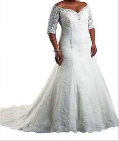 8aa2b932a7 online shopping for Dreamdress Women s Plus Size Half Sleeve Lace Train  Wedding Dresses Bridal from top store. See new offer for Dreamdress Women s  Plus ...