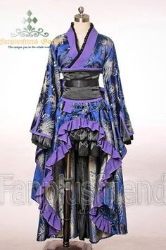 I found Gothic Wa Lolita Kimono dress on Wish, check it out! Asian Steampunk, Moda Steampunk, Steampunk Fashion, Steampunk Dress, Steampunk House, Style Lolita, Gothic Lolita, Yukata, Japanese Kimono