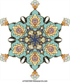 Clipart of Blue, green, yellow and orange flower pattern Arabesque Design - Search Clip Art, Illustration Murals, Drawings and Vector EPS Graphics Images - Islamic Art Pattern, Arabic Pattern, Pattern Art, Mandala Art, Persian Pattern, Persian Motifs, Arabesque Design, Arabesque Pattern, Mehndi