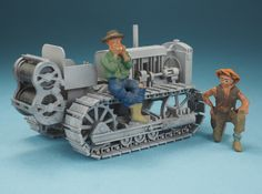 Tractor dozer winch c.1929 Twenty hp caterpillar 3d printed 1/48 ultra detail plastic, painted gray, figures not included