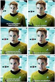 Captain Kirk: one of the few people who can talk down to Benedict Cumberbatch.