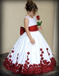 Red And White Bow Knot Rose Satin Ball Gown Wedding Flower Girl Dresses Crew   #Dress