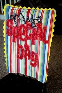 This chair cover would be cool to use in a classroom for Birthdays...make with scrap fabric and some of those iron-on letters, to keep sewing to a minimum.